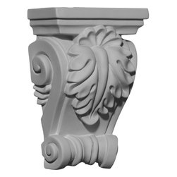 """Ekena Millwork - 4 1/4""""W x 2 3/8""""D x 6 3/8""""H Cole Corbel - 4 1/4""""W x 2 3/8""""D x 6 3/8""""H Cole Corbel. These corbels are truly unique in design and function. Primarily used in decorative applications urethane corbels can make a dramatic difference in kitchens, bathrooms, entryways, fireplace surrounds, and more. This material is also perfect for exterior applications. It will not rot or crack, and is impervious to insect manifestations. It comes to you factory primed and ready for your paint, faux finish, gel stain, marbleizing and more. With these corbels, you are only limited by your imagination."""
