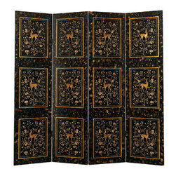 "Inviting Home - Art Deco Coromandel Screen - 4-panel folding Coromandel screen with Art Deco design; overall - 80""W x 78""H; each panel - 20""W; 4-panel Art Deco style folding coromandel screen with hand-incised deer motif and gold-leaf highlights on an antique crackled black background. The back of this folding screen has an antiqued crackled black finish. Art Deco origins are vigorously apparent in the sophisticated design of this decorative screen. Art Deco in style this folding screen is made using traditional Coromandel techniques. Beautiful design of this Art Deco screen features running deer that is hand insisted into panels creating a vivid three dimensional effect and finished in an antiqued gold leaf. The inspiration source of Art Deco - nature - becomes a focal point of this stunning decorative coromandel screen. The graceful organic lines of nature captured in hand painted floral design using peaceful pleasing to the eye colors. Each screen's panel designed as a mirror reflection of the panels that attached to it. This unique design configuration adds a mysterious spice into overall dramatic appearance of the decorative screen. Antiqued crackled black background with gold leaf highlights is contrasting graceful lines of hand painted floral motif."