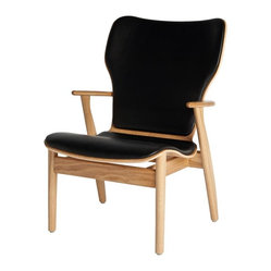 Artek - Artek Domus Oak Leather Lounge Chair - Add a little leisure to your modern decor with a chair that knows how to relax in style. Luxurious black leather padding on its back and seat make kicking back a treat. Unwinding has never looked so good.
