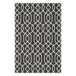 "Loloi Rugs - Loloi Rugs Felix Collection - Charcoal / Ivory, 7'-6"" x 9'-6"" - With bold patterns and fun color options, Felix is an ideal collection for any modern interior. These simple, geometricdesigns are printed in India onto an all-cotton surface, creating a look that's casual but still eye-catching."