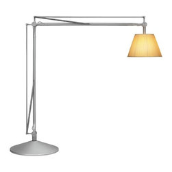 """FLOS - Super Archimoon Floor Lamp in Fabric / Matte Silver - Features: -Construction: Aluminum, fabric, glass. -Provides indirect and diffused light. -Acid-etched hand-blown pressed borosilicate glass internal diffuser. -Pliss cloth external diffuser. -Sand-cast, aluminum diffuser support. -Gray painted composed of tubular aluminum arms and tie rods, stainless steel springs, and die-cast aluminum joints. -Sand-cast aluminum base with gray painted spun aluminum cover. -Electronic dimmer which allows the regulation of light brightness. -Indoor use. -Supply: Power cord. Specifications: -Voltage: 220 V or 240 V. -IP Rating: 20. -Accommodates: (1) Max 230 W E27 HSGS build. Dimensions: -Cord: 62.99"""". -Fixture: 84.25"""" H x 95.27"""" W. -Shade: 14.96"""" H x 21.65"""" W. -Overall: 74.49""""-120"""" H x 78"""" - 130"""" W, 200.62 lbs."""