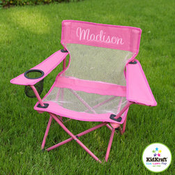 Kids Chair - Customized Pink Camping kids Chair - Anyone will love this kids chair. This beautiful kids furniture  include, cup holder on the right, Folds up for easy storage- lightweight for kids to carry, Storage bag included, quick & easy assembly of this adorable pinky kids chair.
