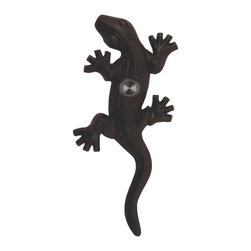 Waterwood - Brass Lizard / Gecko Doorbell, Black - The Waterwood Gecko Lizard doorbell will offer a cheerful greeting to your visitors. Displaying this doorbell will give a great impression to the front door of your home. This solid brass doorbell is crafted using the sand casting technique. It is then hand finished and coated with a protective lacquer to withstand the elements. Waterwood doorbells are easy to install and will add personality to your home.