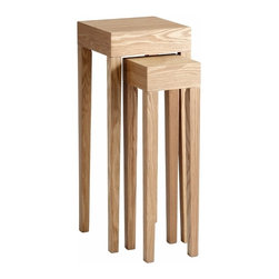 Ash Veneer Tall Square Nesting Tables Set of 2 - *Taavi Tables