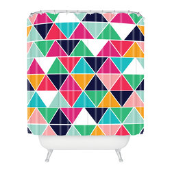 DENY Designs - Vy La Love Triangle Shower Curtain - Who says bathrooms can't be fun? To get the most bang for your buck, start with an artistic, inventive shower curtain. We've got endless options that will really make your bathroom pop. Heck, your guests may start spending a little extra time in there because of it!