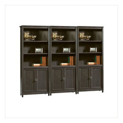 Sauder - Sauder Edge Water Library Wall Bookcase in Estate Black - Sauder - Bookcases - 409046PKG - Sauder Edge Water Library Bookcase in Estate Black (included quantity: 3) The clean lines of the Edge Water Collection bring a new spin to cottage style. In keeping with the relaxed sophistication of the collection, each piece is detailed with solid wood sculpted tapered feet, distinctive kick rails, elegant dark Spanish hardware and shapely soft framed doors and drawers. Finished in an elegant Estate Black finish with a warm gold undertone, and designed with a great attention to modern function and storage, Edge Water creates a relaxed oasis that still serves today's mobile technology lifestyle.
