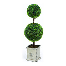 Benzara - Polyester Landscape Topiary Boxwood with Artistic design - Are you looking for a home decor that lasts more than two seasons? If yes then this Polyester Topiary Boxwood would be perfect for you. Manufactured from high quality polyester, this boxwood guarantees performance for years. Its unique boxwood design adds a dash of elegance and sophistication to your home and will surely impress visitors. Sculptures made by clipping trees or shrubs are known as Topiary. Known for their densely packed, rounded green leaves, boxwood shrubs are an ideal choice as a formal landscape topiary. This boxwood shrub resembles a real plant when it comes to looks while the durable material ensures years of enjoyment. An excellent option for indoor and outdoor use, this topiary boxwood should be kept out of direct sunlight. It comes with a dimension of 43 in.  H x 14 in.  W .