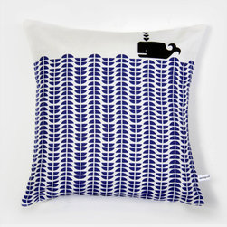 Whale Throw Pillow, Delft Blue by Mengsel Design - This little modern whale pillow is so happy — it would cheer up any room in your home.