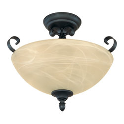 Designers Fountain - Designers Fountain Del Amo Transitional Semi Flush Mount Ceiling Light X-BNB-118 - The Del Amo Collection offers warm and inviting lighting that will compliment architectural trends. This Transitional Pendant Ceiling Light features a Burnished Bronze frame and a Tea Stained Alabaster glass shade. The light has a semi-flush mounting design to complete the transitional style.