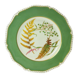 Lavish Shoestring - Consigned Green Fern Painted Serving Plate by Royal Worcester, Vintage English - This is a vintage one-of-a-kind item.
