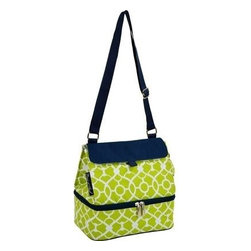 Picnic at Ascot - Lunch Cooler, Trellis Green by Picnic at Ascot - Our Lunch Cooler in Trellis Green by Picnic at Ascot is roomy and has two separate insulated compartments, adjustable shoulder strap and food container. Its bottom section is leak proof and has a white easy clean lining. Top section opens wide so it's easy to fill & has an easy clean white lining.