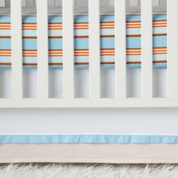Serena & Lily - Ben Crib Skirt - Orange seersucker and a hint of aqua take a white brushed canvas skirt beyond basic and infuse buoyant energy to the nursery.