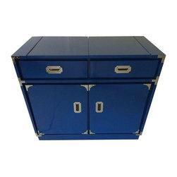 Vintage Blue Campaign Barcart - $1,800 Est. Retail - $899 on Chairish.com -