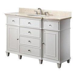 White Bathroom Vanities - White Bathroom Vanities in walnut finish with Galala Beige Marble top and Sink a beautiful transitional design with classic lines. Constructed of solid birch wood and birch veneers, brushed nickel hardware, soft-close drawer guides and hinges. The vanity set includes a galala beige marble top and an undermount sink. The coordinating mirror adds to the set and completes this collection.