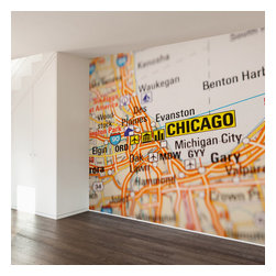 WallsNeedLove - Chicago Map Wall Mural Decal - They say home is where the heart is...we say home is where you put a giant mural on your wall to mark where you heart is...Go Bulls?