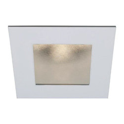 """WAC - WAC White 4"""" LED Square Shower Recessed Light Trim - Polish the look of your ceiling lights with this square recessed lighting trim in white. Made die-cast aluminum with abrasion resistant powder coat paint the trim has a narrow flood beam spread and a 40 degree visual cutoff angle for light that is easy on the eyes. Use with insulated ceiling new construction and remodel housings. For use with WAC Lighting recessed products. Square recessed lighting shower trim. White finish. White baffle. Die-cast aluminum construction. Abrasion resistant powder paint. Rated for one maximum 15 watt LED bulb (not included). For use with IC new construction and IC remodel WAC recessed housings. Housing not included. Narrow flood beam spread. Deep light source regression for low glare. 40 degree visual cutoff. 5 1/4"""" wide. 2 3/8"""" high. Less than 1/8"""" thick. Aperture is 4"""".  Square recessed lighting shower trim.  White finish.  White baffle.  Die-cast aluminum construction.  Abrasion resistant powder paint.  Rated for one maximum 15 watt LED bulb (not included).  For use with IC new construction and IC remodel WAC recessed housings.  Housing not included.  Narrow flood beam spread.  Deep light source regression for low glare.  40 degree visual cutoff.  5 1/4"""" wide.  2 3/8"""" high.  Less than 1/8"""" thick.   Aperture is 4"""".  Wet location rated."""