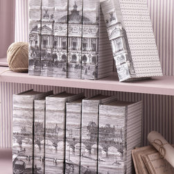 Vive Paris Set of 6 Lithograph Cover - Parisian scenes in refined black-and-white lithograph take on additional intrigue when printed across the binding of half a dozen books standing in a row.  These interesting decorative accents make use of a random selection of six sturdy, well-preserved vintage books, the spines of which are covered with sections of the French cityscape print.  Black and white patterns accent front and back covers.