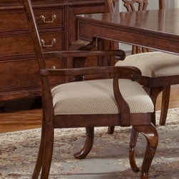 Liberty Furniture - Ansley Manor Upholstered Arm Chair - Chippendale design. Splat back. Nylon glides. Warranty: One year. Made from select hardwoods and highly figured cherry veneers. Cinnamon finish. 19 in. W x 20 in. D x 40 in. H (21 lbs.)