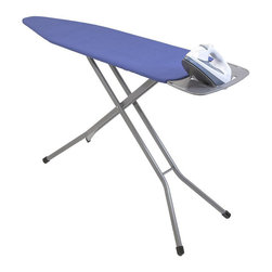 None - Premium 4-leg Ironing Board - Featuring heavy duty rectangular leg for superior support and durability. This ironing board has stamped metal for added strength,silicone pads to dissipate heat and angled support to prevent steam flow when not in use.