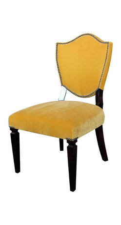 Mortise & Tenon - Custom Shield Back/Crest Upholstered Dining Chair - Upholstered Back and Front of dining chair.