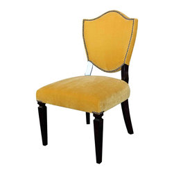 Mortise & Tenon - Custom Shield Back - Crest Upholstered Dining Chair - Upholstered Back and Front of dining chair.