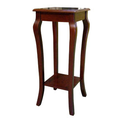 ORE International - Square Flower Stand w Lower Shelf in Cherry F - Elegant design . Lower shelf. Curved legs. Made of wood composite. 12 in. L x 12 in. W x 28 in. H (10 lbs.). Weight capacity: 50 lbs.This charming table will inspire you to keep fresh flowers around. Perfect for art pieces, vases and more, this elegant pedestal table will be a charming addition to any room of your home.Makes a great accent piece in the foyer, bedroom or hall.