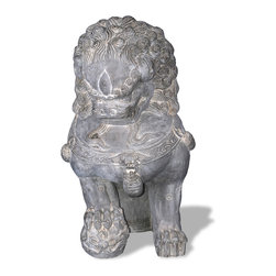 Amedeo Design, LLC - USA - Foo Dog Statue - Right Facing - Our Foo Dog Statue comes from classic chinese designs. Large yet lightweight, this piece can be moved by one person to any location easily. Our products are made of lightweight weatherproof ResinStone. So authentic, you actually have to lift them to convince yourself they're not stone at all! Made in USA.
