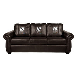 Dreamseat Inc. - Kyle Busch #18 NASCAR Chesapeake Black Leather Sofa - Check out this Awesome Sofa. It's the ultimate in traditional styled home leather furniture, and it's one of the coolest things we've ever seen. This is unbelievably comfortable - once you're in it, you won't want to get up. Features a zip-in-zip-out logo panel embroidered with 70,000 stitches. Converts from a solid color to custom-logo furniture in seconds - perfect for a shared or multi-purpose room. Root for several teams? Simply swap the panels out when the seasons change. This is a true statement piece that is perfect for your Man Cave, Game Room, basement or garage.
