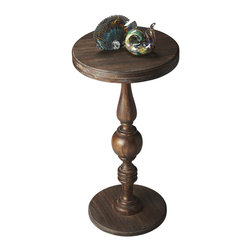 Butler Specialty - Butler Pedestal Accent Table - elaborately turned pedestal connects the base with a double-decked tabletop to create a compelling aesthetic for a favorite nook or cranny. Crafted from acacia wood solids in the Cocoa finish.