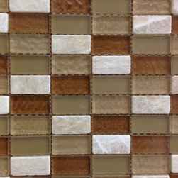 GL STONE - Random Strip Frosted Marble and Glass Mosaic Tiles ( 1 Carton/ 11 Sq Ft ) - Random Strip Marble and Glossy Glass Mosaic Tile is a great way to enhance your decor with a traditional aesthetic touch. This Mosaic Tile is constructed from durable, impervious Marble & Glass material, comes in a glossy and forest finish glass and is suitable for installation on walls in commercial and residential spaces such as bathrooms ,floor tile, and kitchen backsplash. The mix color with brown and white