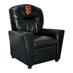 Imperial International - San Francisco Giants MLB Faux Leather Kids Recliner - Check out this awesome Kids Recliner. Now the whole family can join in and watch the game in their favorite chair! It has a great contemporary design with black faux leather all over, and a cup holder. The team logo is embroidered and sewn on the headrest. It's perfect for your Man Cave, Game Room, Garage or Basement.