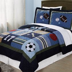 All State Boys Quilt Set - No matter what sport you are into, this is the quilt that will complete your room. All State boys quilt is 100% cotton face and fill for durability. We carefully pre-wash each quilt and sham to make sure that it has a great feeling right out of the package. This quilt is a great addition to a variety of rooms because it can go with so many sports themes and color combinations. Deep navy blue, sage green, and tan colors paired with an accent plaid, make this bedding an easy match for any pallet.