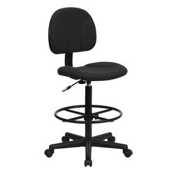 Black Patterned Fabric Ergonomic Drafting Stool (Adjustable Range 26