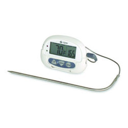 "CDN DTP392 Cooking Thermometer - CDN Probe Thermometer must-have for any kitchen this digital probe thermometer gets the job done in a small size packed with great features. This CDN Probe Thermometer features a stainless steel probe with a 36"" sensor cable that tells you when food has reached the desired temperature. It also features a dual progress display with large digits and is shatterproof."