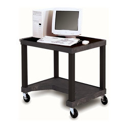 H. Wilson - Tuffy Mobile Computer Workstation in Black - Includes 3-outlet UL listed electrical assembly with 15 ft. cord. Pull-out keyboard tray. 4 in. silent-roll full swivel casters. Two shelves. Chip, warp, crack, rust or peel resistant. 0.25 in. safety retaining lip. Raised texture surface that enhances product placement. Ensures minimal sliding. Convenient leg room cut out in bottom shelf. Cord management wrap. Three cable management clips. Electrical attachment is recessed to insure passage through most standard doorways. Maximum weight capacity: 125 lbs.. Made from an engineered thermoplastic resin injection molded. Assembly required. 32 in. L x 24 in. W x 28 in. H. Warranty