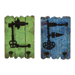 Benzara - Set of 2 Wood Wall Plaques Post Stamp Print Metal Key Hooks Decor 34914 - Vintage set of 2 wood wall plaques in post stamp print design with antique metal key details and hanging hooks decor