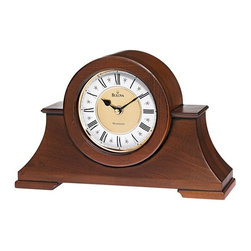 BULOVA - Cambria Mantel Clock with Westminster Chime - Solid wood and wood veneer case, antique walnut finish