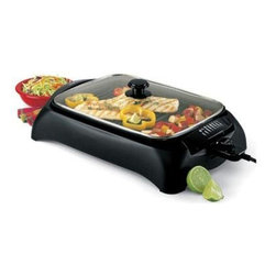 """Focus Electrics - Indoor Grill - West Bend Indoor Grill. Non-stick 15"""" x 11"""" cooking surface, adjustable heat control with easy reference guide for suggested settings, includes ribbed surface on one end for low-fat grilling and a solid surface on the other end for a variety of foods, glass cover for heat retention, the drip tray reduces smoke when water is added, the removable grilling surface-drip tray and cover are all dishwasher safe, indicator light, cool touch exterior and handles"""