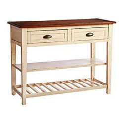 Carmichael Buffet - This buffet has casual country style provided by its bin drawer pulls and wood top. It's also great for extra surface and storage, whether you decide to use it in the dining room as a buffet or in the kitchen as an island.