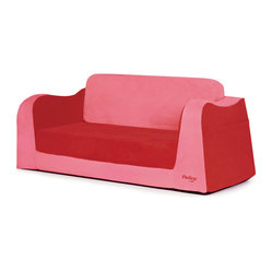 P'kolino - Little Sofa/Sleeper, Red - Nap in a snap! This special sofa is bound to become your child's favorite snuggle zone and reading retreat — gotta love those big book pockets! Plus, it folds easily into a comfy sleeper, thanks to high-density foam covered in super soft fabric.