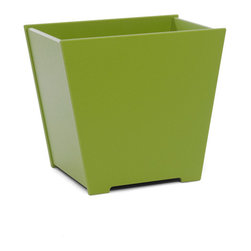 Loll Designs - Taper Planter 10 Gallon, Leaf Green - The Loll Flora Collection was created to work in a variety of outdoor garden settings. The recycled and recyclable poly material is made to withstand the test of time and extreme weather. In addition, the joinery on our modern containers allow for a slow, seeping drainage and holes can easily be drilled in the bottom if desired. All pieces are flat-packed with simple, fun, and intuitive assembly.