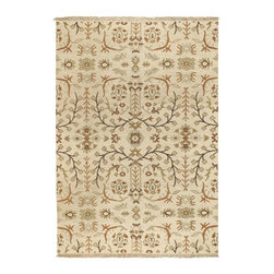 Surya - Surya Sonoma Hand Knotted Beige Wool Rug, 10' x 14' - Sonoma brings an updated look to traditional soumeks. The color banks are refreshed with modern colors and a hard twist to the wool adds a unique texture. This hard twist adds an unmatched multiplicity to this collection, and makes the style more transitional and less formal. Imported.Material: 100% New Zealand WoolCare Instructions: Blot Stains