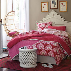 Ramona Bedding - This beautiful girly bedding embraces the floral theme — but in a modern way. The mod graphics are perfect for a teenager's room.