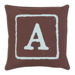"""Surya - Surya BKB-027 Pillow, 20"""" x 20"""", Down Feather Filler - Add a personal stamp to your space with the inclusion of this utterly perfect pillow. Hand made in India of 100% cotton, the boldly printed initial in smooth coloring effortlessly permits for a private touch while simultaneously embodying divine design from room to room within any home decor."""