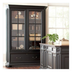 Riverside Furniture - Riverside Furniture Allegro Sliding Door Bookcase in Rubbed Black - Riverside Furniture - Bookcases - 44734 - Riverside's products are designed and constructed for use in the home and are generally not intended for rental, commercial, institutional or other applications not considered to be household usage.