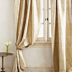 "Anthropologie - Gilded Waves Curtain - Sold individuallyTunnel constructionFoil-printed viscose-silkDry clean50""WImported"