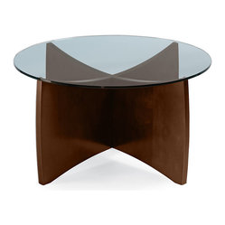 Turnstone - Alight Occasional Coffee Table - The Alight Occasional Coffee Table, with its x-shaped base and glass top, is at home in any setting. Solid manufactured wood with wood-grain laminate base and tempered glass make this round coffee table a long-lasting piece you'll enjoy.
