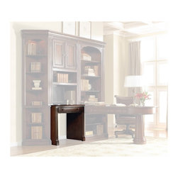 """Hooker Furniture - European Renaissance II Wall Desk - White glove, in-home delivery included!  Includes furniture assembly!  Wall Desk only. (Shown with European Renaissance II modular wall system underneath the Door Hutch.)  Cherry and myrtle burl veneers with hardwood solids are an exquisite combination in the European Renaissance executive home office collection.  FC620 Power Bar with two electrical outlets, phone jack, high speed data ports and USB upstream and downstream.  Also offers one electrical outlet and matching data, phone and USB port on the bottom, center drawer with drop-front for keyboard use.  Keyboard space: 24 9/16"""" w x 12 5/16"""" d x 2 7/16"""" h  Knee space: 27 1/4"""" w (inside pilasters) x 21 1/8"""" d x 24 1/4"""" h; 30 5/8"""" w (inside end panels)"""