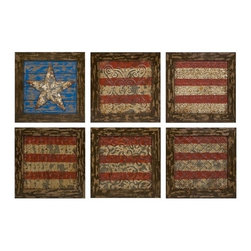 "IMAX - Glory American Flag Wall Decor- Set Of 6 - Reminiscent of tin ceiling tiles, this set of six aged frames encase stamped metal featuring antiqued finishes and a basic rendering of Old Glory. Item Dimensions: (12""h x 12""w)"