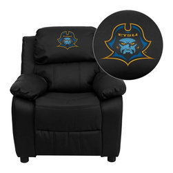 "Flash Furniture - East Tennessee State University Buccaneers Black Leather Kids Recliner with Stor - Get young kids in the college spirit with this embroidered college recliner. Kids will now be able to enjoy the comfort that adults experience with a comfortable recliner that was made just for them! This chair features a strong wood frame with soft foam and then enveloped in durable leather upholstery for your active child. This petite sized recliner features storage arms so kids can store items away and retrieve at their convenience. East Tennessee State University Embroidered Kids Recliner; Embroidered Applique on Headrest; Overstuffed Padding for Comfort; Easy to Clean Upholstery with Damp Cloth; Flip-Up Storage Arms; Storage Arm Size: 3.25""W x 6""D x 11""H; Solid Hardwood Frame; Raised Black Plastic Feet; Intended use for Children Ages 3-9; 90 lb. Weight Limit; Black LeatherSoft Upholstery; LeatherSoft is leather and polyurethane for added Softness and Durability; CA117 Fire Retardant Foam; Safety Feature: Will not recline unless child is in seated position and pulls ottoman 1"" out and then reclines; Overall dimensions: 25""W x 26"" - 39""D x 28""H"